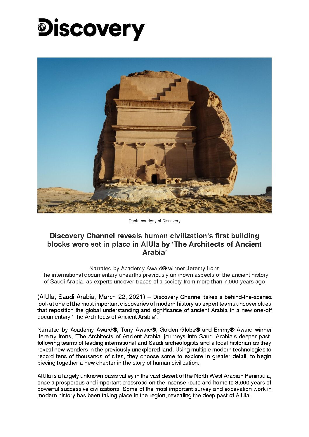 Architects of Ancient Arabia Press Release